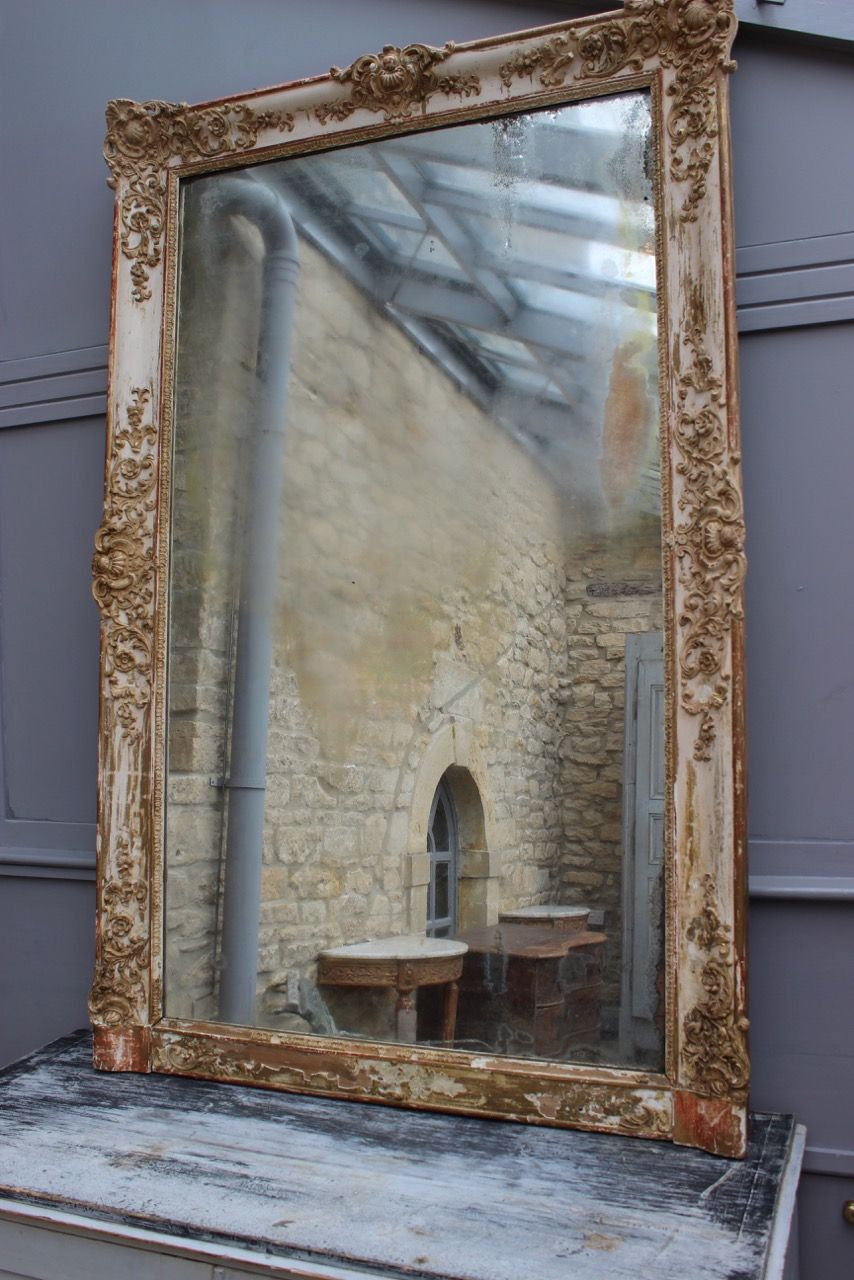 A Wonderful And Very Large Napoleon Iii Mirror Retaining Its Original Mercury Glass Plate And Distressed Decoration France 19th Mirror Mirrors Uk Oval Mirror