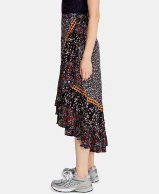 021ba55965d Free People Esmeralda Mixed-Print Midi Wrap Skirt - Multi 0 Short ...