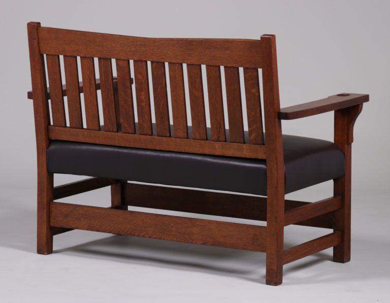 Awesome Gustav Stickley V Back Bench C1910 1912 California Lamtechconsult Wood Chair Design Ideas Lamtechconsultcom