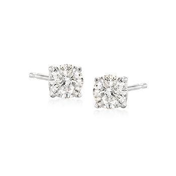 T W Diamond Stud Earrings In 14kt White Gold