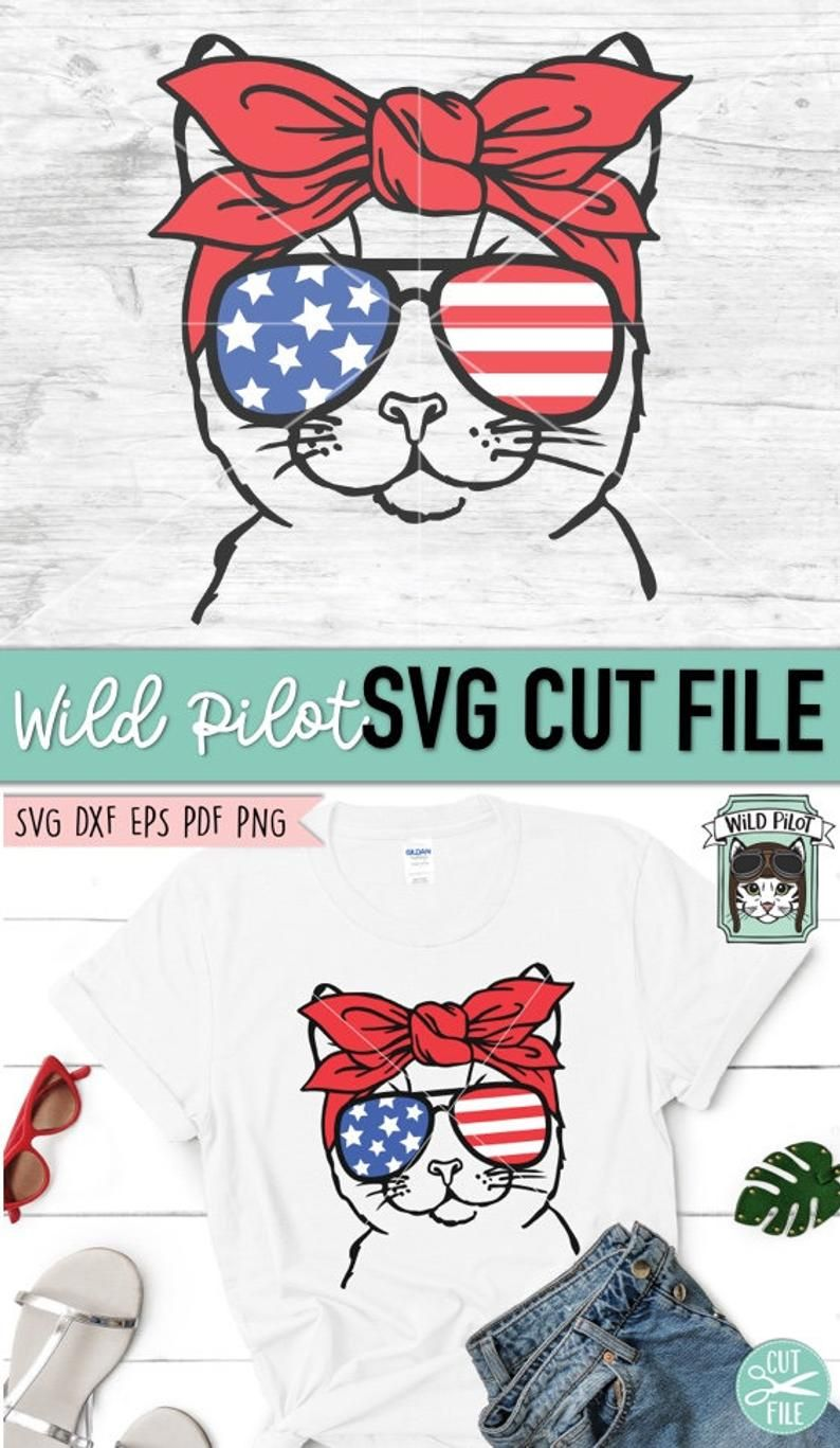 July 4th Cat Svg Fourth Of July Cat Svg File Cat Glasses Etsy Svg Fourth Of July Cat Bandana