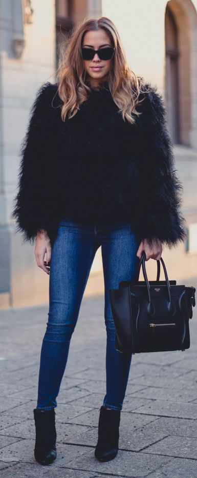 19159ced463 Black Fluffy Faux Fur Jacket by Kenzas | ╬Street Fashion ...
