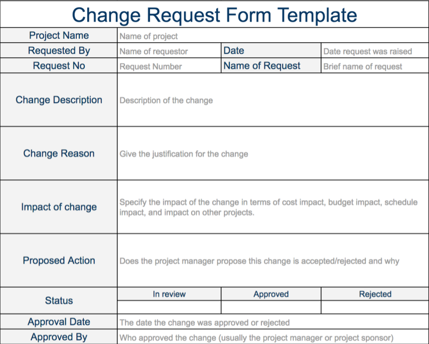 Change Request Template Program Management Change