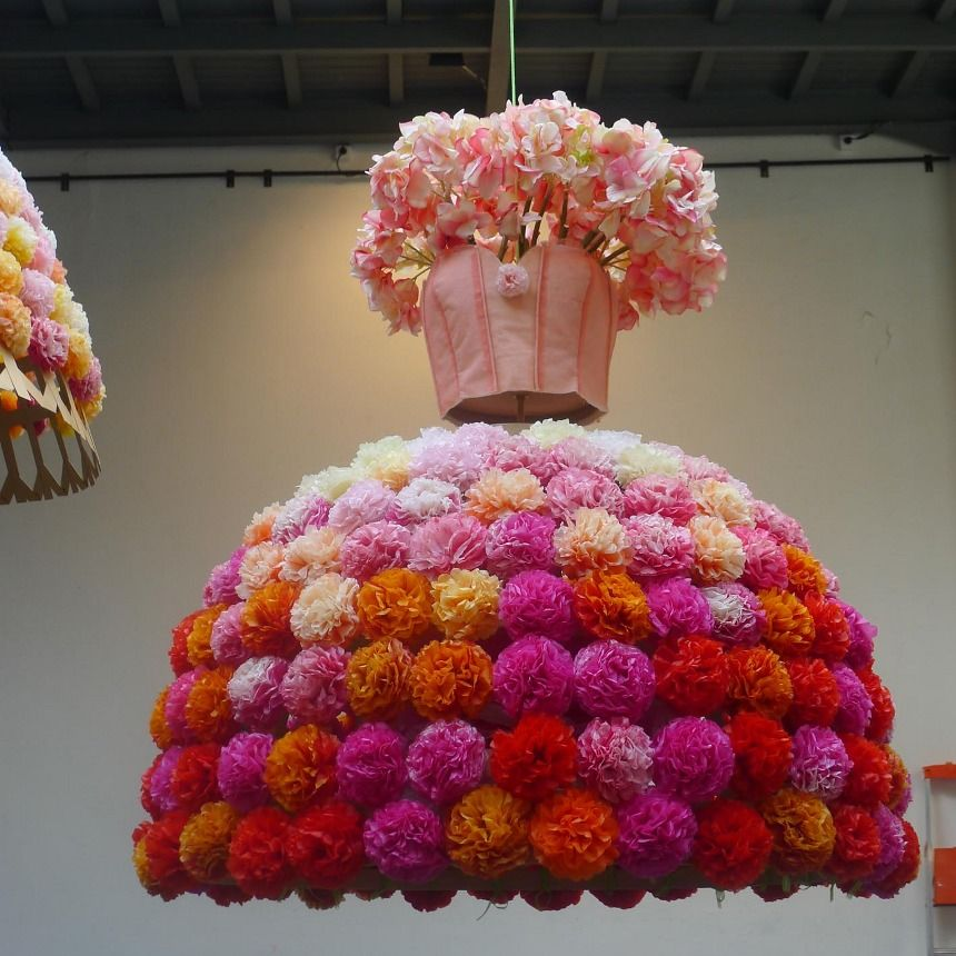 Spectacular pom pom dress ceiling decor flower pom for Hanging pom poms from ceiling