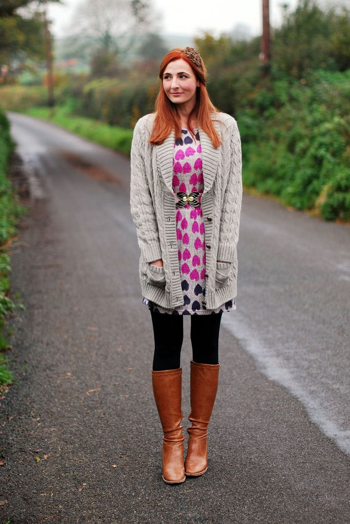 Cable Knit Cardigan Layered Over A Patterned Dress | Cable knit ...