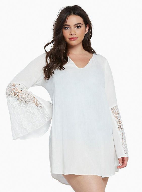 52f97f781ac Plus Size Gauze Lace Inset Swim Cover Up