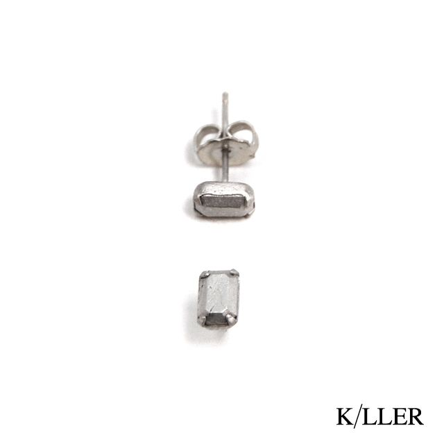 K/LLER COLLECTION E1  STERLING METAL SET STUD EMERALD