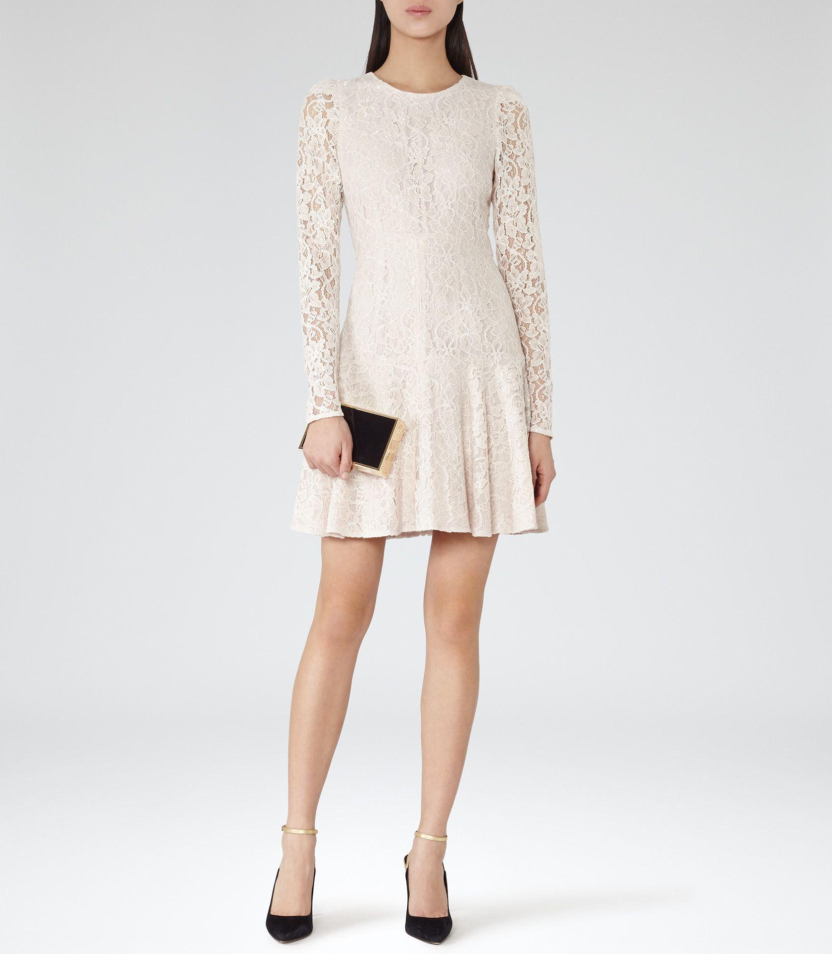 bedaad2c7fd Womens Monroe Sheer Sleeve Lace Dress - Reiss Rosalin