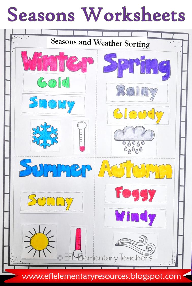 Esl Seasons Weather Weather Words Seasons Worksheets Word Boxes [ 1125 x 756 Pixel ]