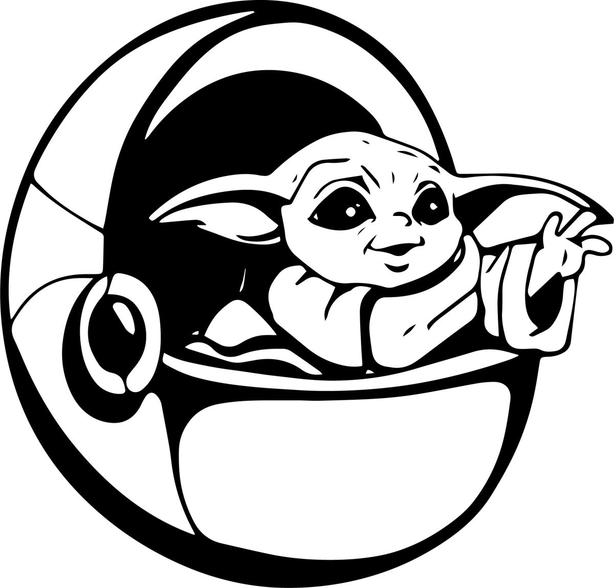 Baby Yoda In Pod Vector