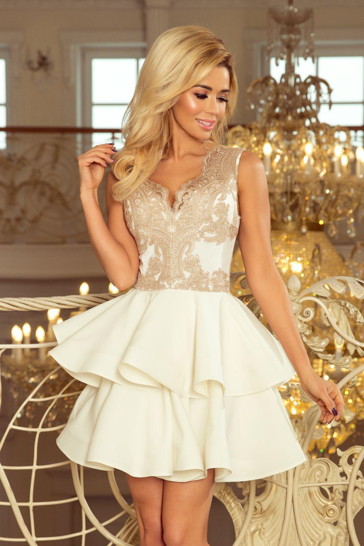 74e4ee4f26 Sukienka na wesele złoto-beżowa ze spódnicą podwójnie rozkloszowaną - ecru  - idealna ekskluzywna sukienka z bogato zdobionym konronkowym dekoltem -  numoco