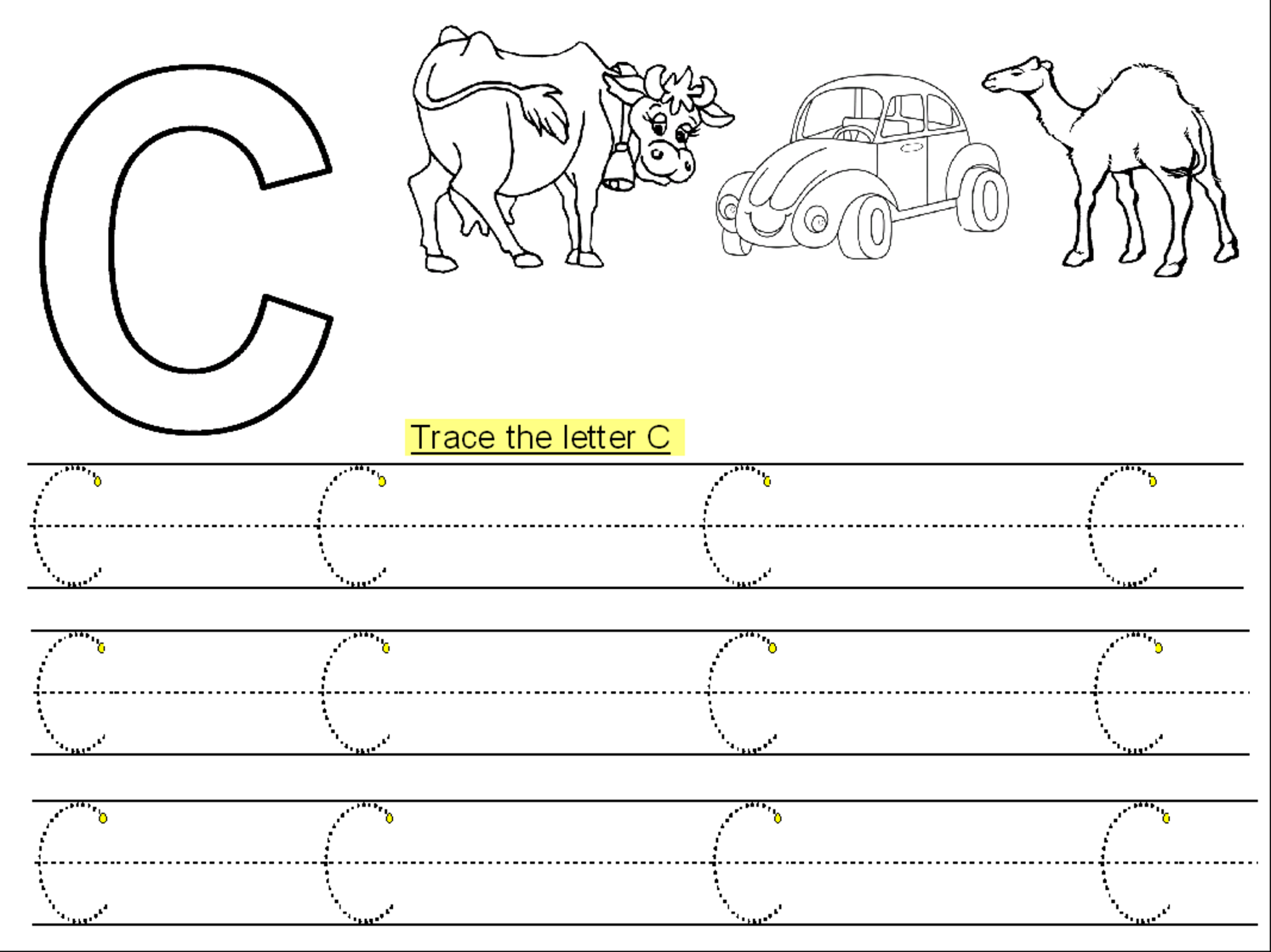 Trace Letter C Printable