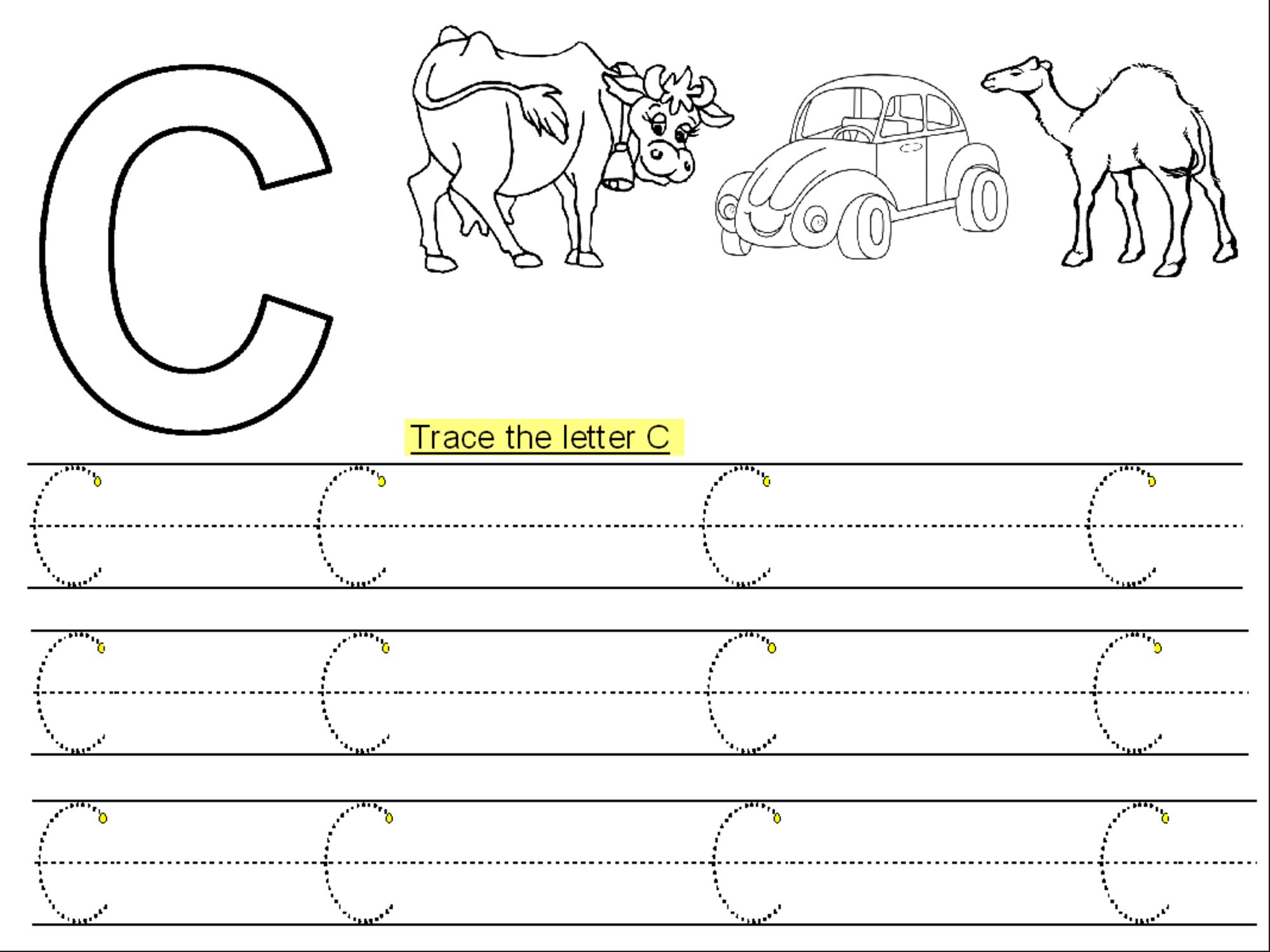 Trace Letter C Printable | Kiddo Shelter | Kids Worksheets Printable ...