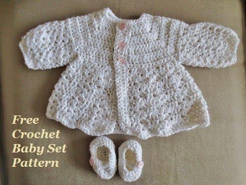 Free Easy Crochet Baby Sweater Set Pattern | Crochet | Pinterest ...