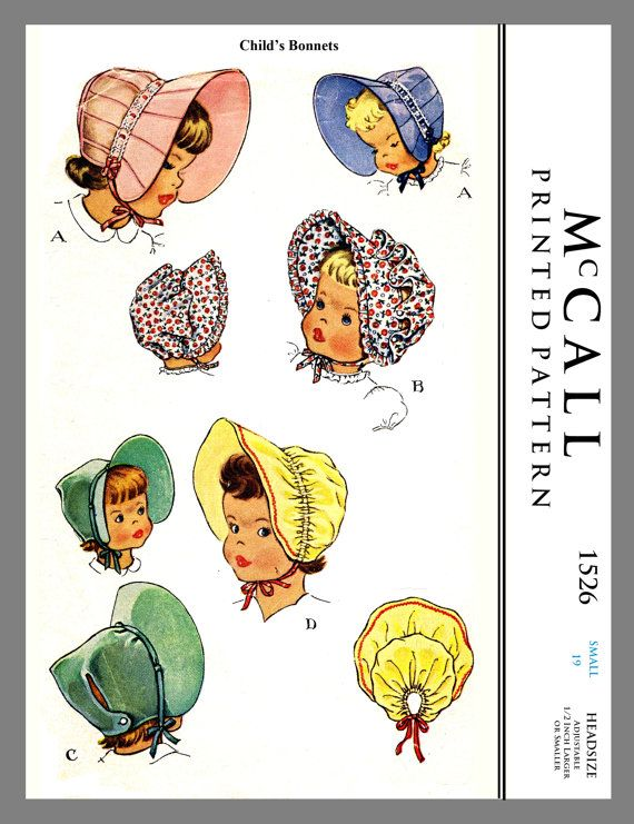 Vintage McCall Childrens Baby BONNET Fabric Material Sewing Pattern ...