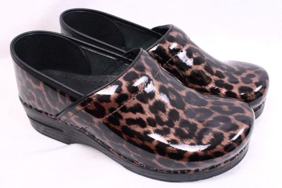 Save Women's Dansko Professional slip on closed back clog style Metallic Leopard