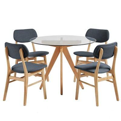 Enjoyable 4 Seater Charcoal Soho Beech Wood Dining Table Chairs Set Customarchery Wood Chair Design Ideas Customarcherynet
