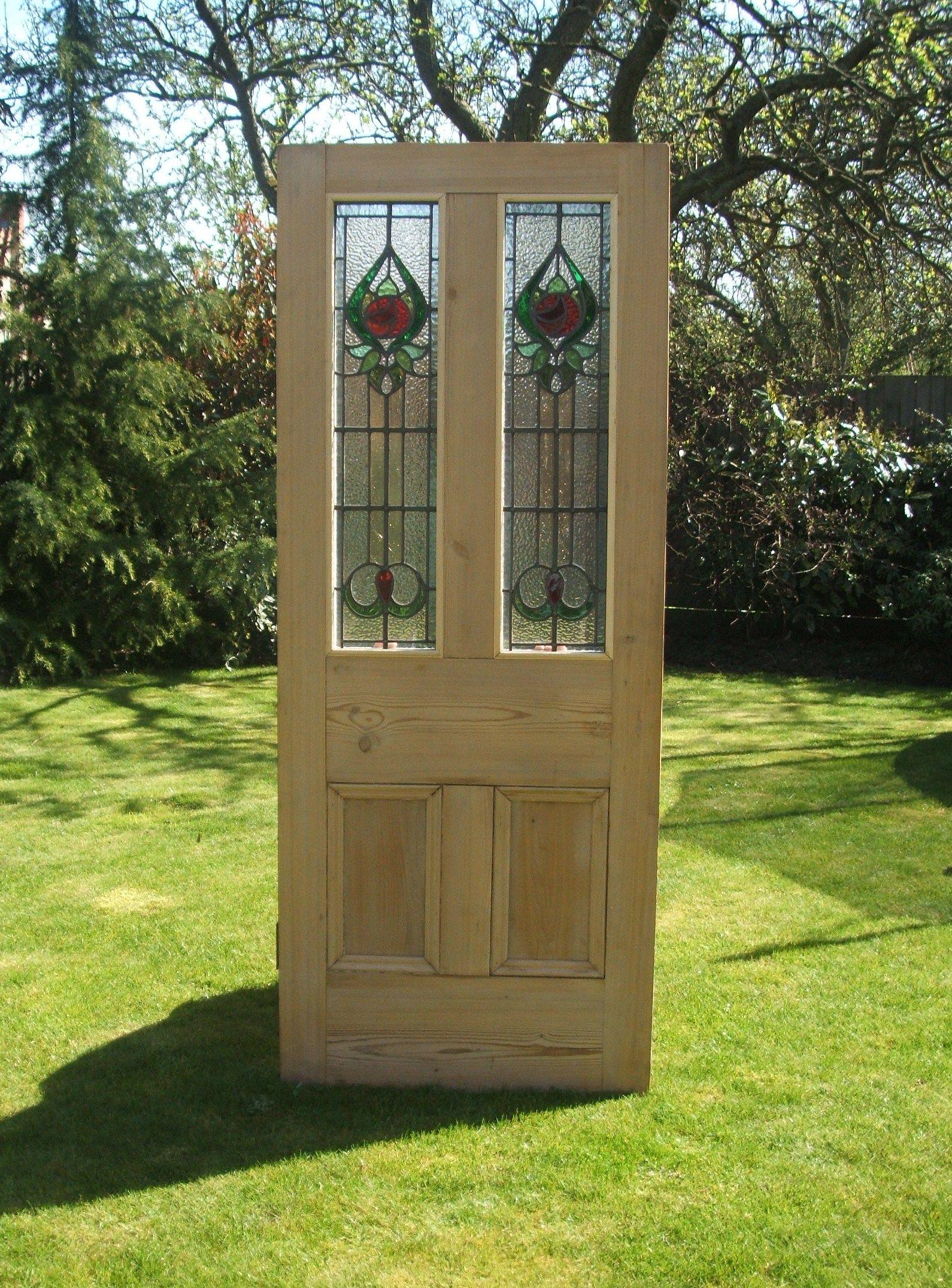 Antique pine stained glass door   Front door ideas   Pinterest   Türen