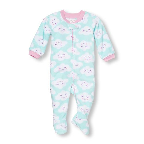 d8a5cc641 Baby Girls Baby And Toddler Long Sleeve Cloud Print Blanket Sleeper ...