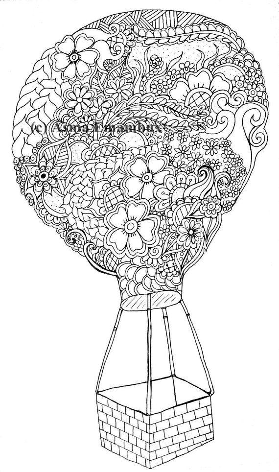 Hot air balloon coloring page | Globos de aire caliente, Globo de ...