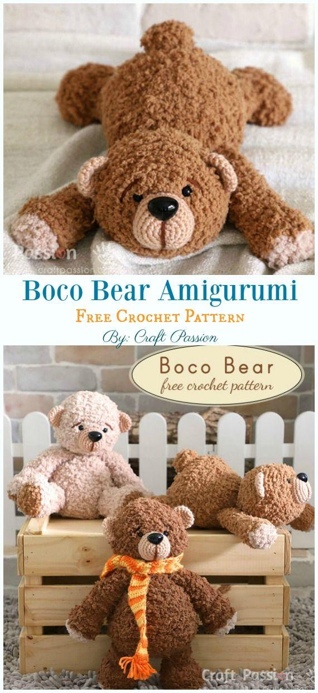 Free Amigurumi Bear Toy Softies Crochet Patterns #amigurumifreepattern