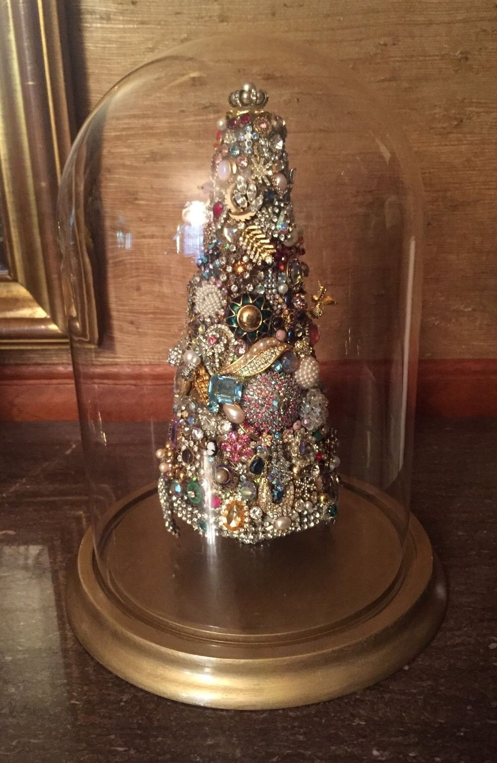 Vintage John Fontaine Rhinestone Jewelry Christmas Tree Under Glass Dome Jewelry Christmas Tree Vintage Jewelry Repurposed Vintage Jewelry Crafts