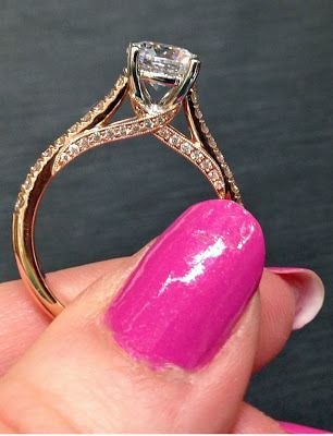 Rose gold and diamond engagement ring with twist detail. By Coast Diamond.  Via Diamonds in the Library.