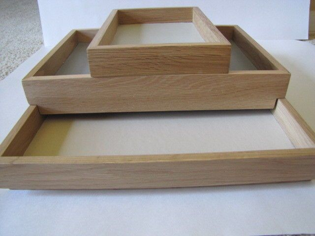 DESIGN BY CONRAN Set of 3 Oak Wood Stacking Contrast Trays Retail $185 NWT