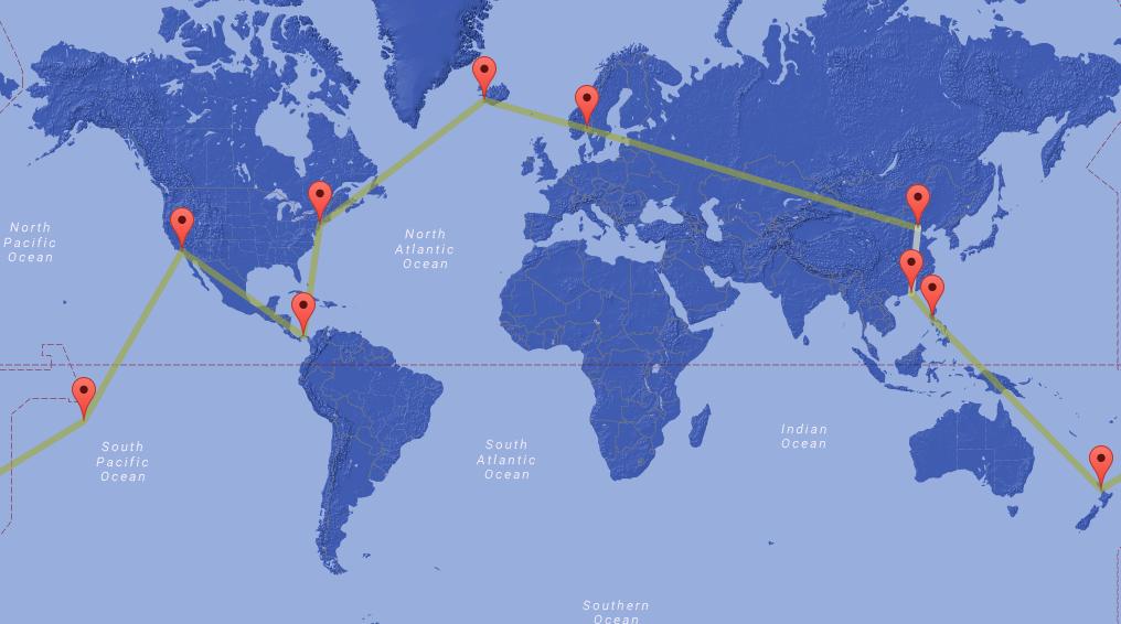 Jorden rundt - fra 23.900 kr Island, USA, Panama, Fransk Polynesia, New Zealand, Filippinene og Kina.