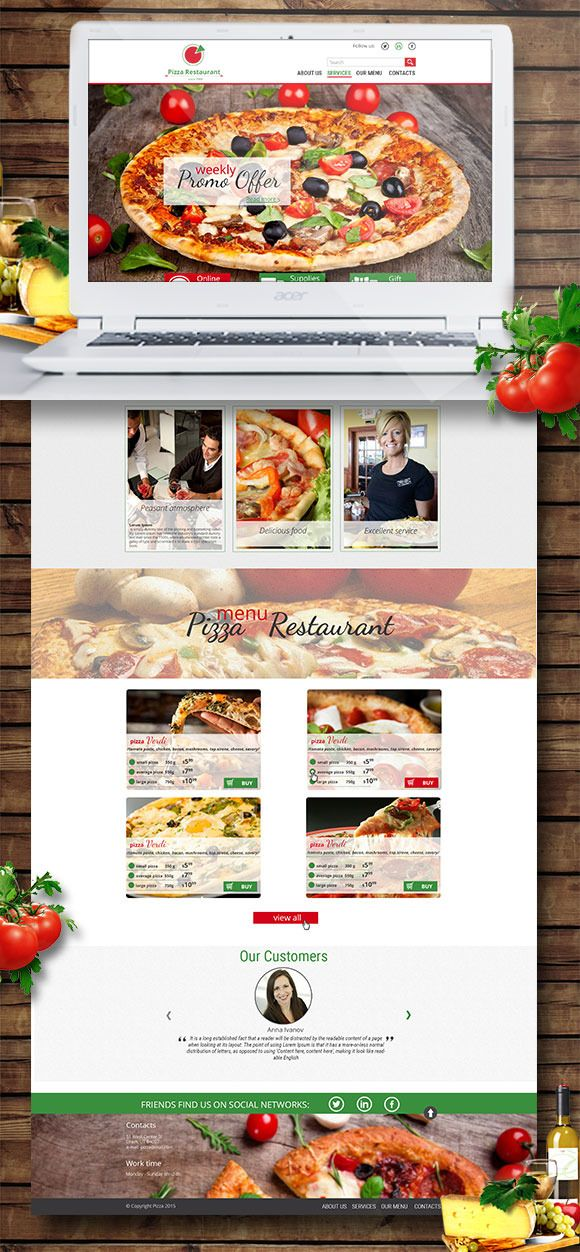 pizza website psd template by themesflow on creative market design