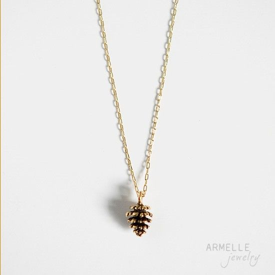 Necklace Fall Autumn Gold Little Pinecone Charm Pendant