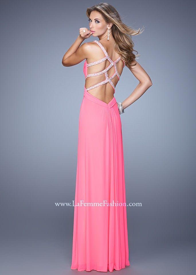 La Femme 21021 Ruched Net Dress | Vestiditos