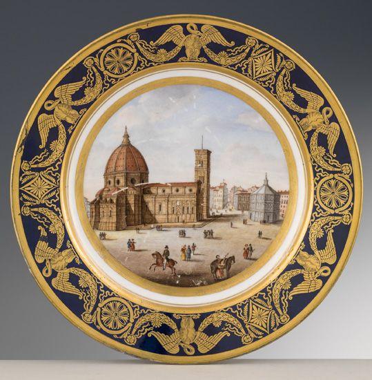 Piatto Doccia Richard Ginori.Manifattura Ginori Piatto Con La Veduta Del Duomo Di Firenze 1800