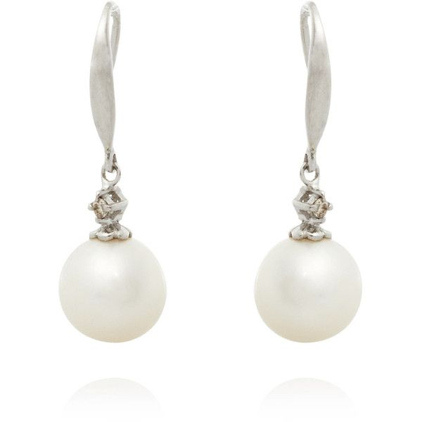Kojis White Gold And Diamond Pearl Drop Earrings 600 Liked On Polyvore