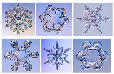Ice crystals and snowflakes