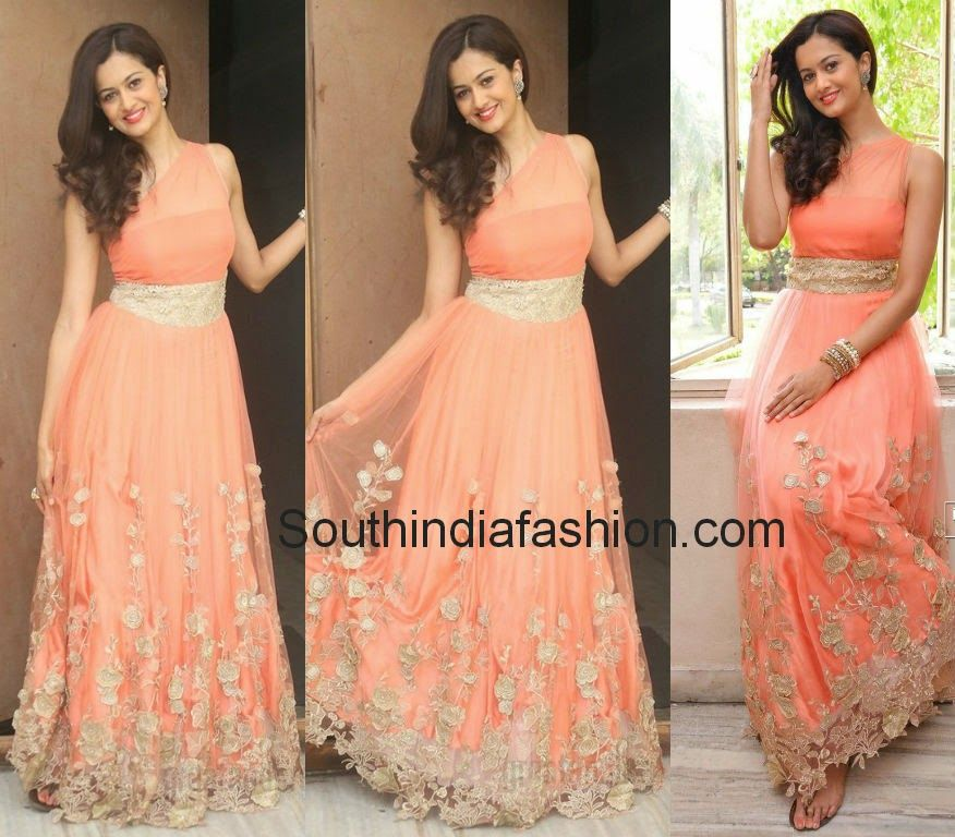 Shubra Aiyappa in Peach Gown | Peach gown, South india and India fashion