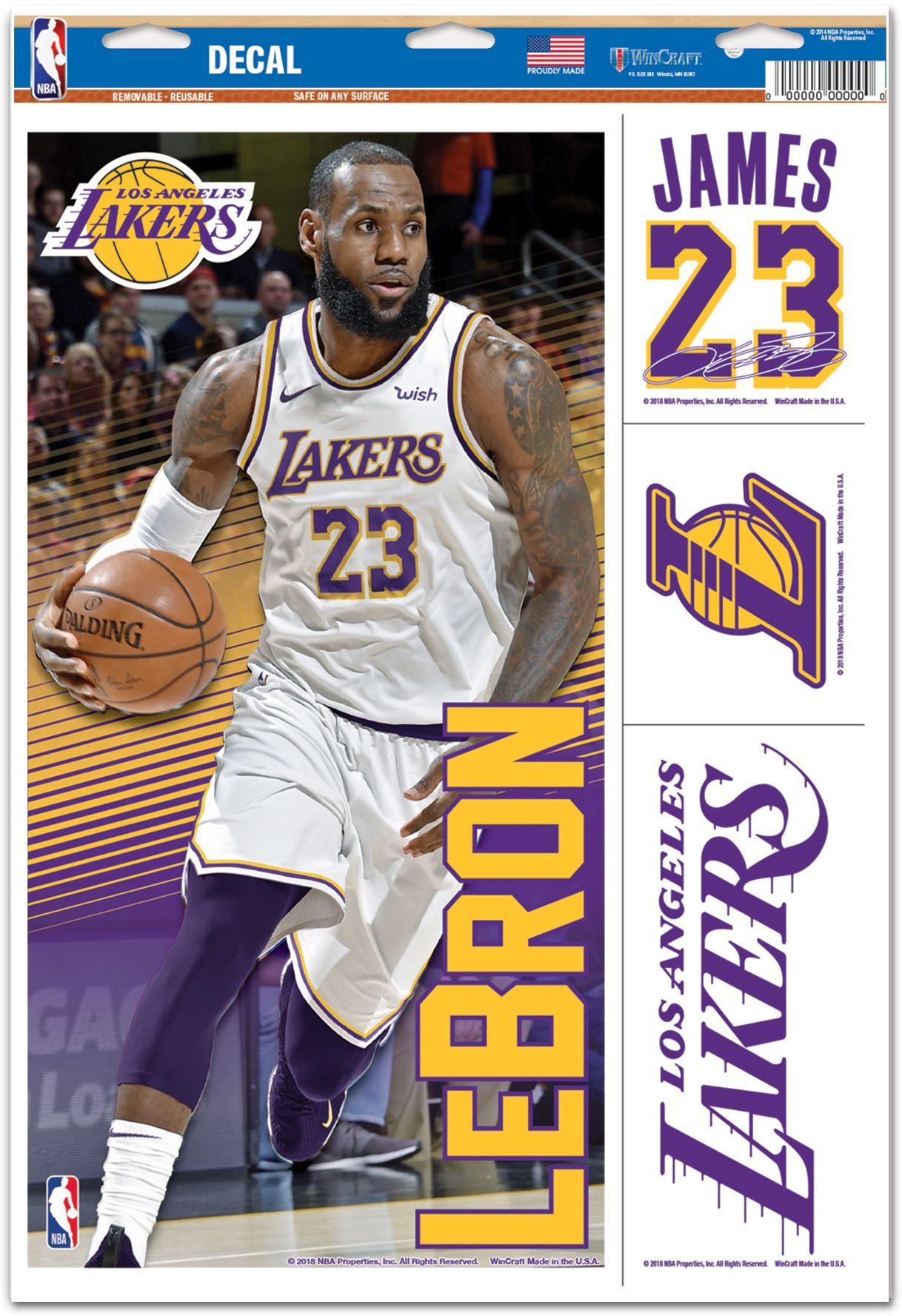 new products 28e06 94da1 WinCraft Los Angeles Lakers LeBron James Multi-Use Decal ...