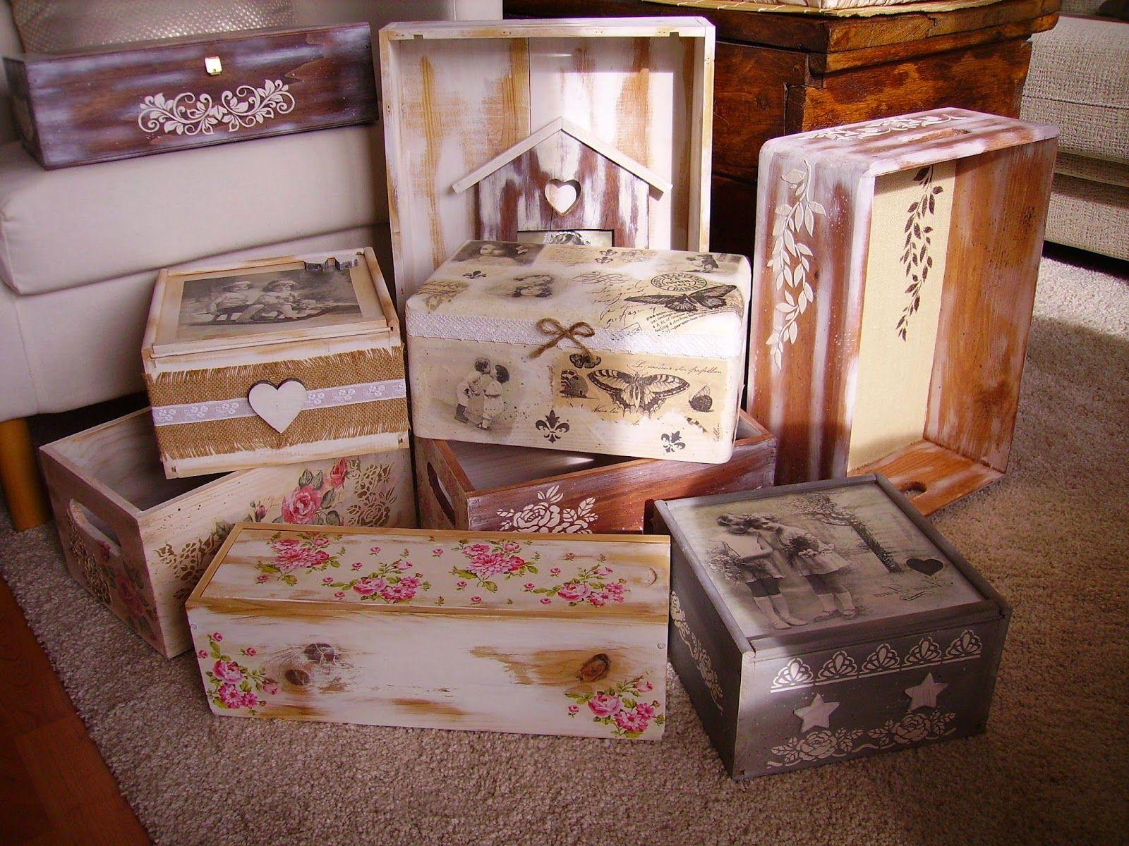 Retazos De Madera Cajas Vintage Diy Decoupage Pinterest  ~ Cajas De Carton Decorativas Grandes