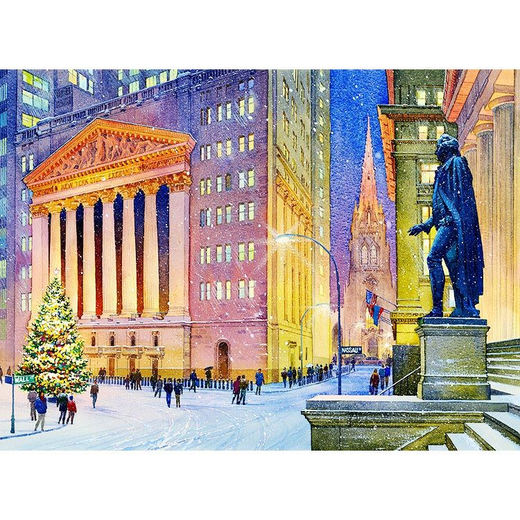 Watercolor New York: New York Stock Exchange (NYSE) Watercolor Painting By