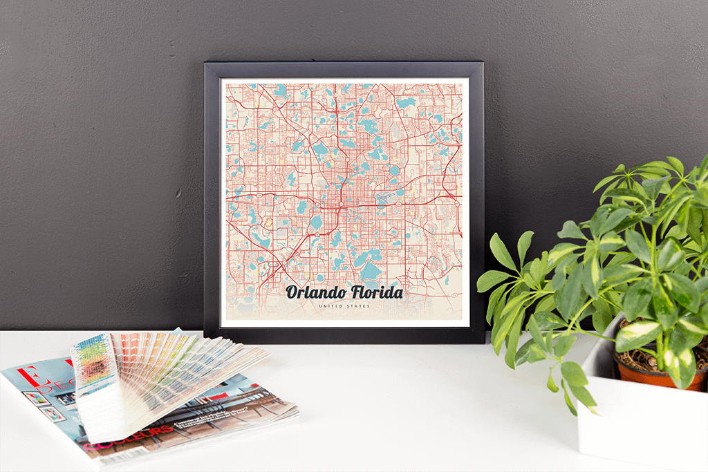 Framed Map Poster of Orlando Florida Lobster Retro