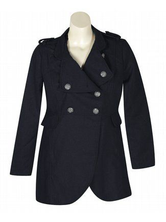 Navy Expedition Coat $79  http://www.alight.com/last-kiss-navy-expedition-coat.html  Warm military look plus-size coat has metallic buttons at the front and shoulders, two flap hip pockets, and button down lapels.