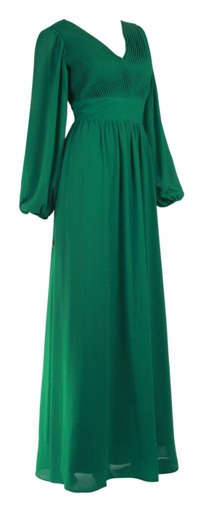 Langärmlige Damen Kleider bodenlang Plissee Chiffonkleider ...