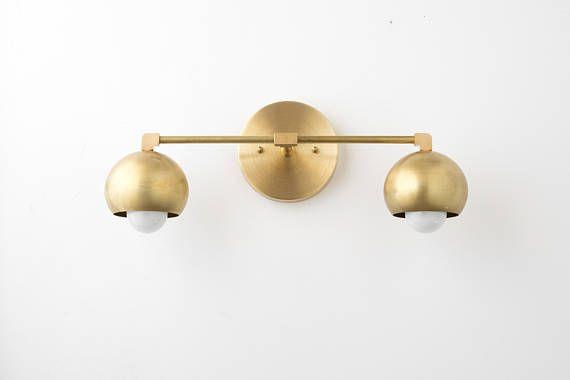 Vanity Lighting Home   Brass Bathroom Light   Mid Century Bathroom  Brass  Sconce Light Greetings