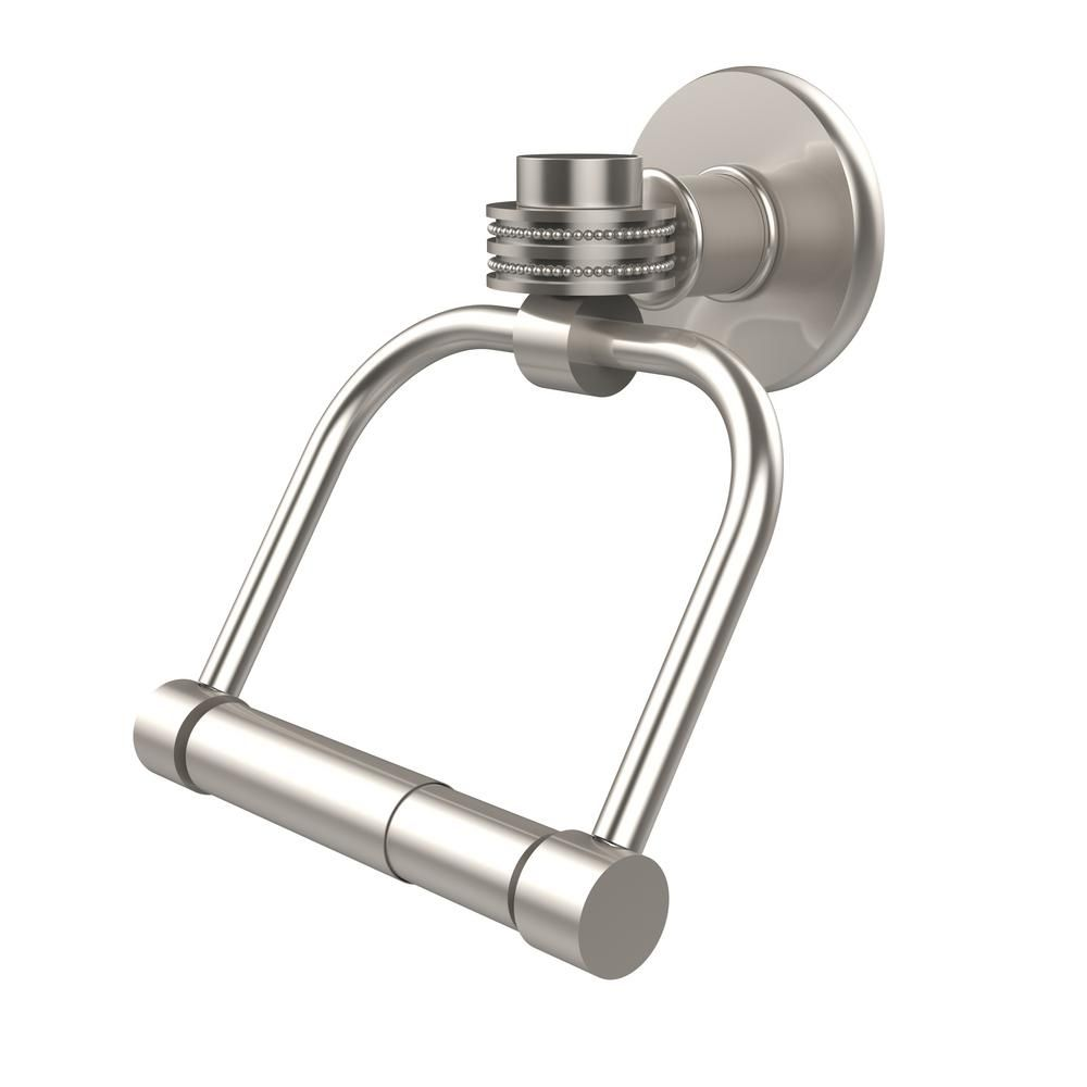 Allied Brass CV-24ET-SN Clearview Collection Euro Style Toilet Tissue Holder with Twisted Accents Satin Nickel