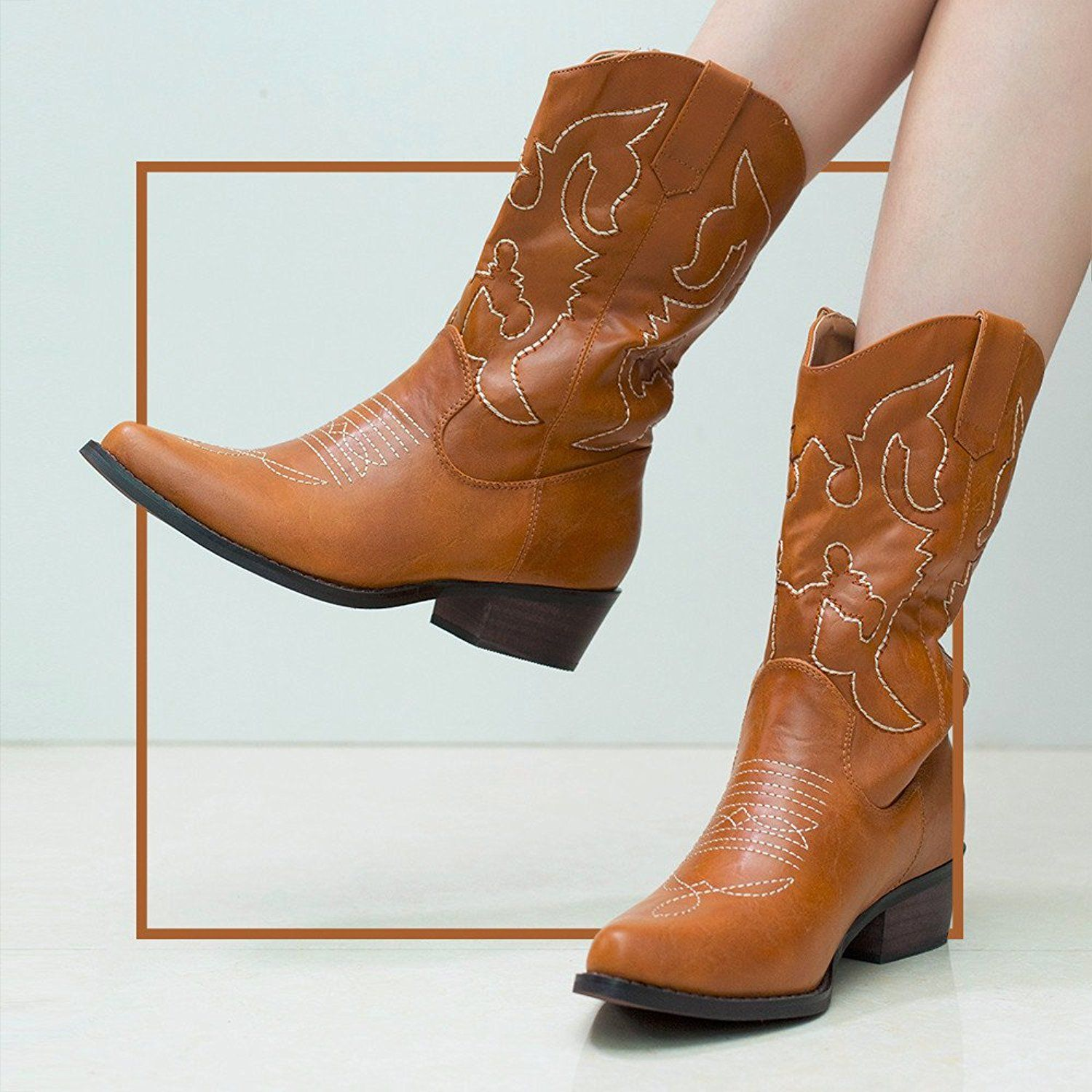 a533d7454 SheSole Women s Cowboy Cowgirl Western Boots Tan Size 6  Amazon.co.uk  Shoes    Bags