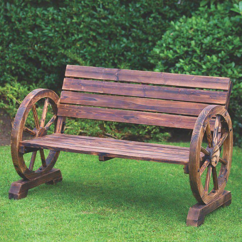 Rustic Wagon Wheel Bench - 2 Seater 2019 Dekoracje