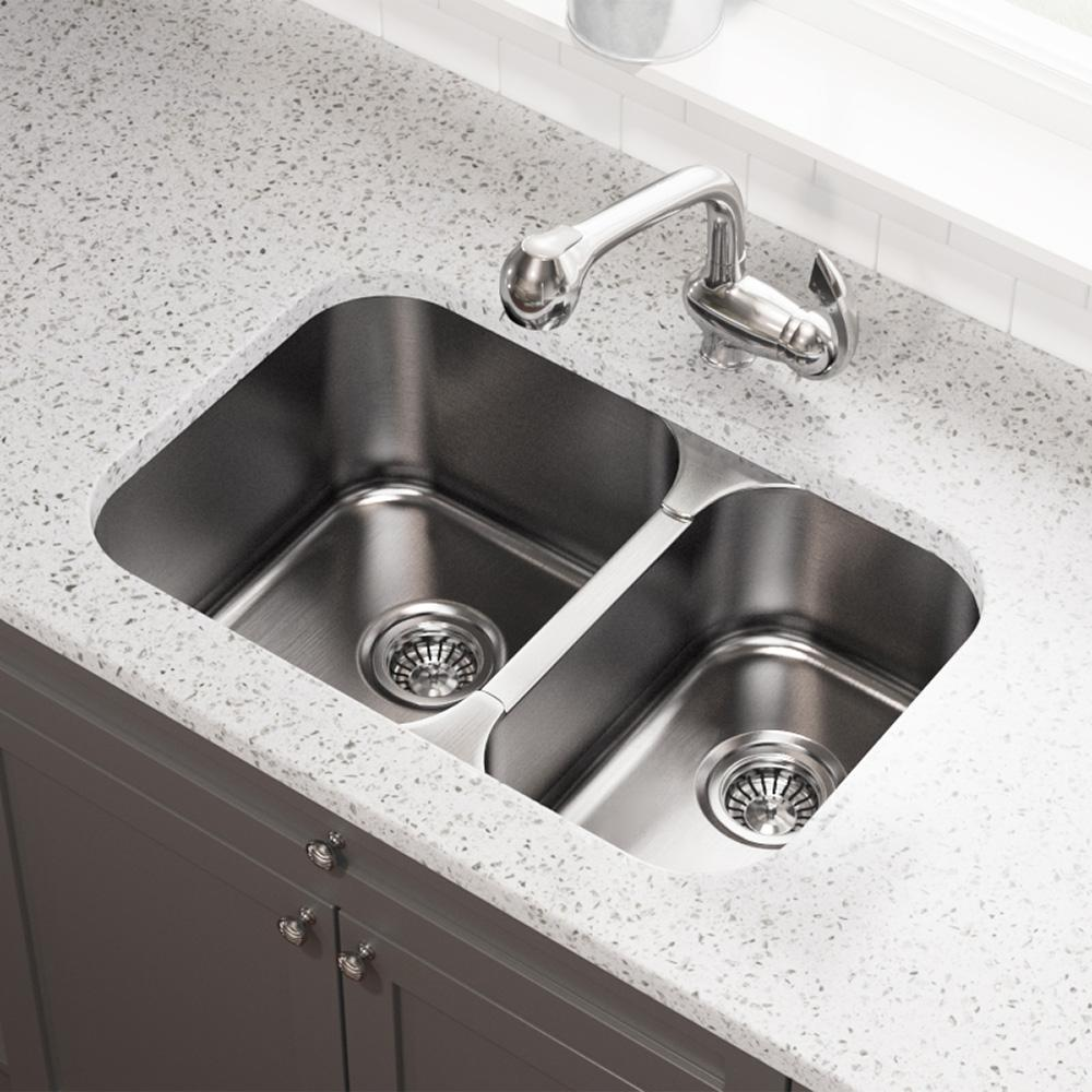 Mr Direct Undermount Stainless Steel 28 In Double Bowl Kitchen Sink 530l The Home Depot Double Bowl Kitchen Sink Stainless Steel Kitchen Kitchen Sink