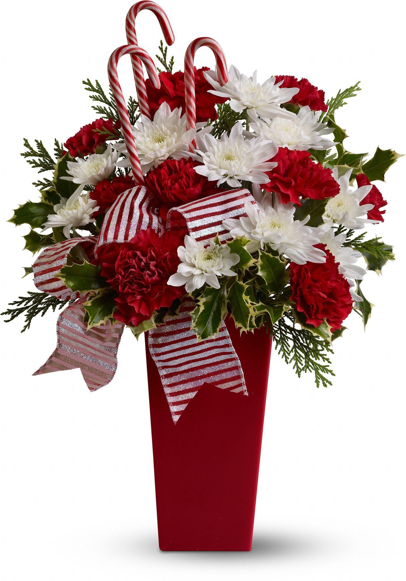 Peppermint Posies Christmas flower arrangements