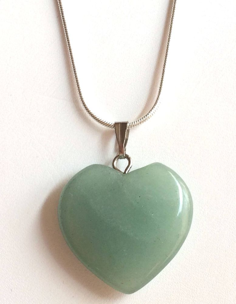 Silver Jade Heart Necklace Plated Pendant Light Green Stone 24