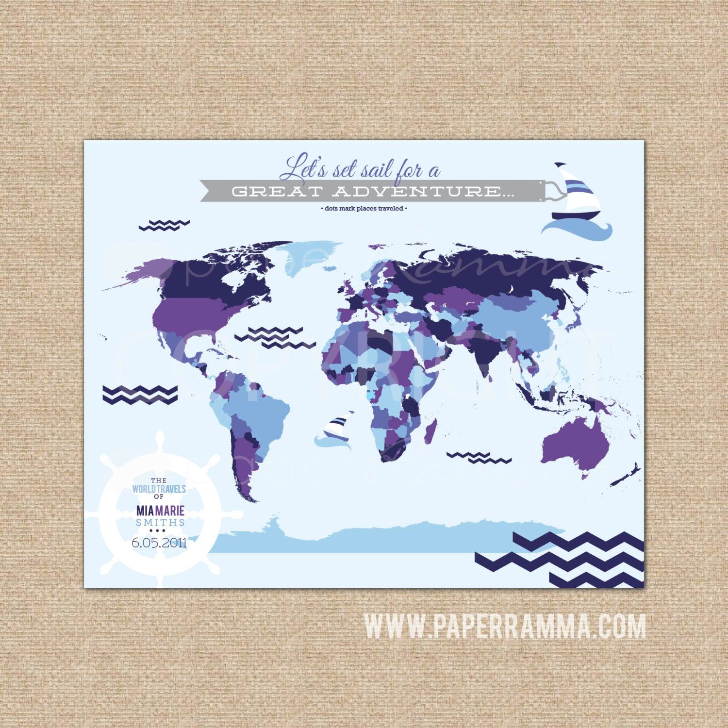 Nautical nursery decor interactive world map pushpin map kids world map nautical nursery art interactive map playroom decor gift for newborn choose gumiabroncs Image collections